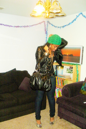 black H&M jacket - gold f21 accessories - green thrifted hat - black H&M top