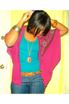 blue f21 top - purple  cardigan - brown thrifted belt - gold f21 necklace