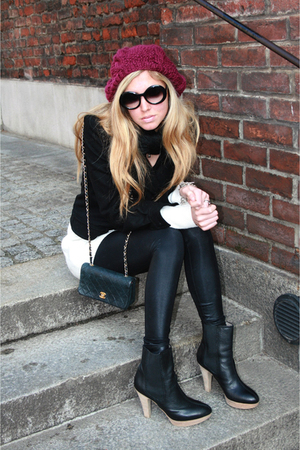 Zara boots - American Apparel leggings - Chanel lambskin 255 purse - H&M dress -