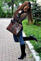 black Steve Madden boots - blue James Jeans jeans - dark brown Fontanelli bag