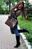black Steve Madden boots - blue James Jeans jeans - dark brown Fontanelli bag