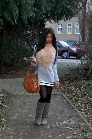 Aldo boots - Zara blazer - River Island scarf - Miu Miu bag - H&M top