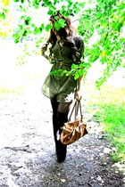olive green Tibi dress - tawny bag - black asos stockings - black Steve Madden h