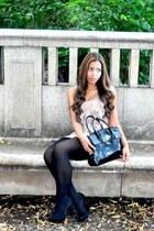 light pink H&M dress - black Wolford tights - black unknown brand bag - black St