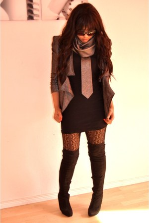 black Makemechiccom boots - black H&M dress - silver asos blazer - silver &Tie s