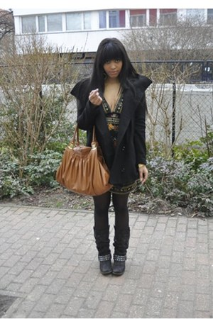 black Graceland boots - vintage dress - black Vero Moda coat - bronze Miu Miu ba