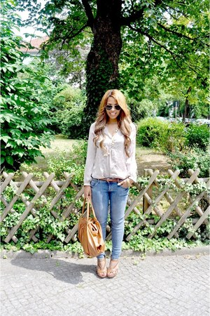 blue H&M jeans - tawny Miu Miu bag - brown new look wedges - off white Vero Moda