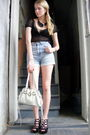 Black-betsey-johnson-blouse-blue-levis-shorts-white-miu-miu-purse-black-bc