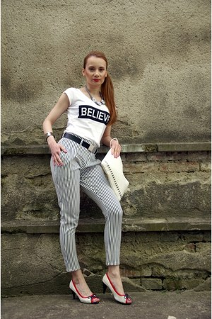 white faux leather caliope bag - white striped caliope pants