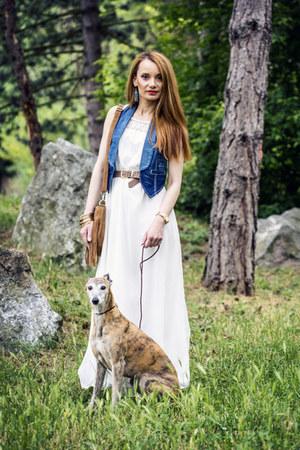 white long c&a dress - tawny fringe New Yorker bag - camel Primark belt