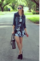floral print motelrocks dress - jean Guess jacket