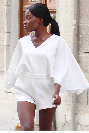 white cape sleeves Chicwish romper