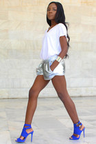 white LnA t-shirt - silver Adidas shorts - blue neoprene Migato heels