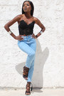 Light-blue-pull-bear-jeans-black-lace-bustier-zara-top