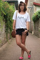 white Mango t-shirt - black Insight shorts - hot pink asos sandals
