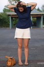 White-mango-shorts-navy-naf-naf-top