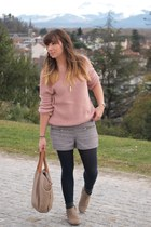 tan BESSON boots - violet Kiabi shorts - pink Pimkie sweatshirt