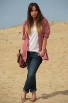 white H&M t-shirt - navy volcom jeans - pink no brand shirt