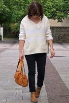beige Bel Air sweater - burnt orange pieces bag - black pieces pants