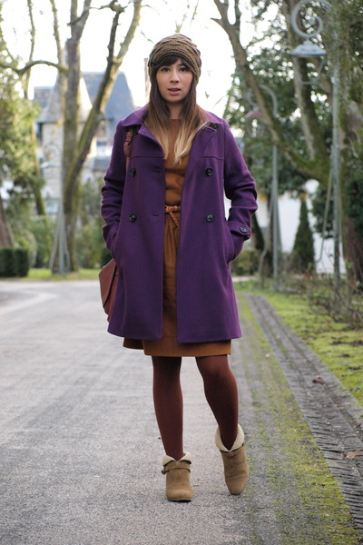 camel sessun boots - burnt orange sessun dress - deep purple sessun coat