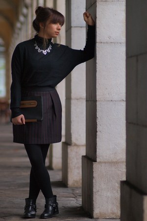black Mango boots - black Zara sweater - brown asos bag - crimson Mango skirt