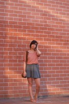 burnt orange bag - heather gray asos skirt - coral Zara top