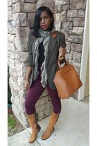 gray vintage blazer - brown past season Zara boots