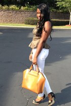 large tote Zara bag - skinny jeans Joes Jeans jeans - peplum nastygal top