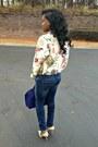 Navy-skinny-jeans-joes-jeans-jeans-floral-print-vintage-blazer
