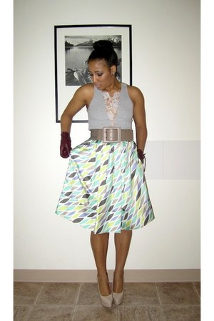 lime green cynthia steffe skirt - camel Zara belt - heather gray Poppie top