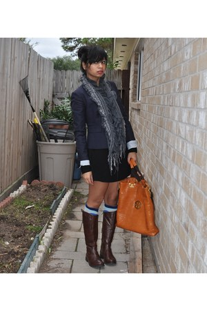 dark brown boots - black dress - navy blazer - charcoal gray scarf