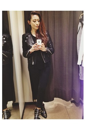 black H&M jacket - black Zara boots