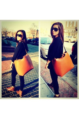 tawny Zara bag - burnt orange lucky boots - black calvin klein sweater