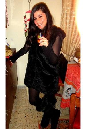fur vest dress