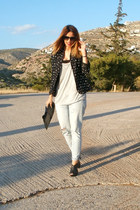 Zara blazer - Zara jeans - D&G sunglasses - H&M t-shirt - Zara heels