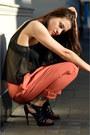 Black-mesh-selected-femme-top-black-straps-sesare-paciotti-sandals