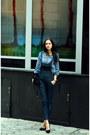 Teal-denim-levis-shirt-navy-dungarees-diesel-jeans