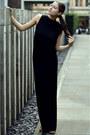 Black-longbackless-pinko-dress-gold-strappy-zara-heels