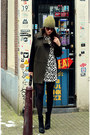 Black-wedge-zara-boots-dalmatian-print-h-m-dress-oversized-mango-coat
