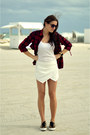 Black-tartan-print-zara-shirt-white-skort-zara-shorts