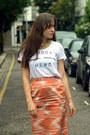 White-slogan-zoe-karssen-t-shirt-orange-pencil-nicole-farhi-skirt