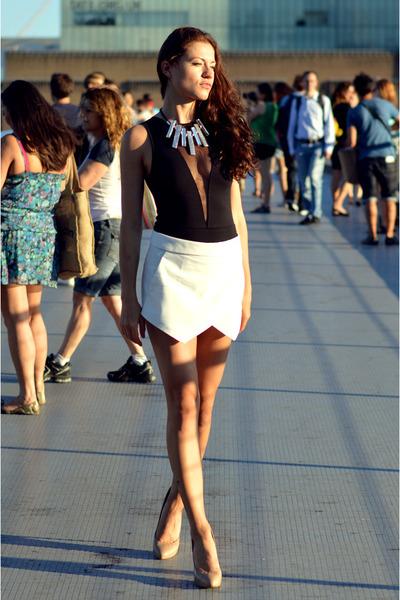 black mesh H&M Trend bodysuit - white skort Zara skirt