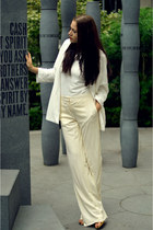 off white oversized Zara jacket - ivory wide leg Alberta Ferretti pants