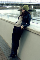 beige H&M jumper - COS hat - black All Saints jacket - black Zara pants