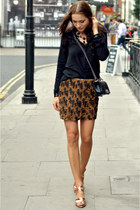 gold sequins Zara skirt - black silk loose Zara shirt