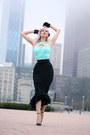 Aquamarine-halter-voodoo-vixen-top-black-flamenco-pinup-girl-clothing-skirt