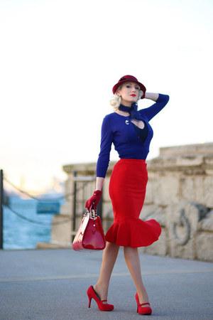 navy unique vintage cardigan - brick red old hat
