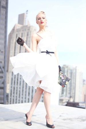 black clutch old purse - white eyelet unique vintage dress