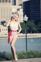 beige old shoes - white Ava and Rose romper - red OASAP earrings