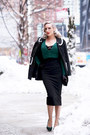 Black-polka-dot-oasap-coat-dark-green-winter-pollypop-sweater